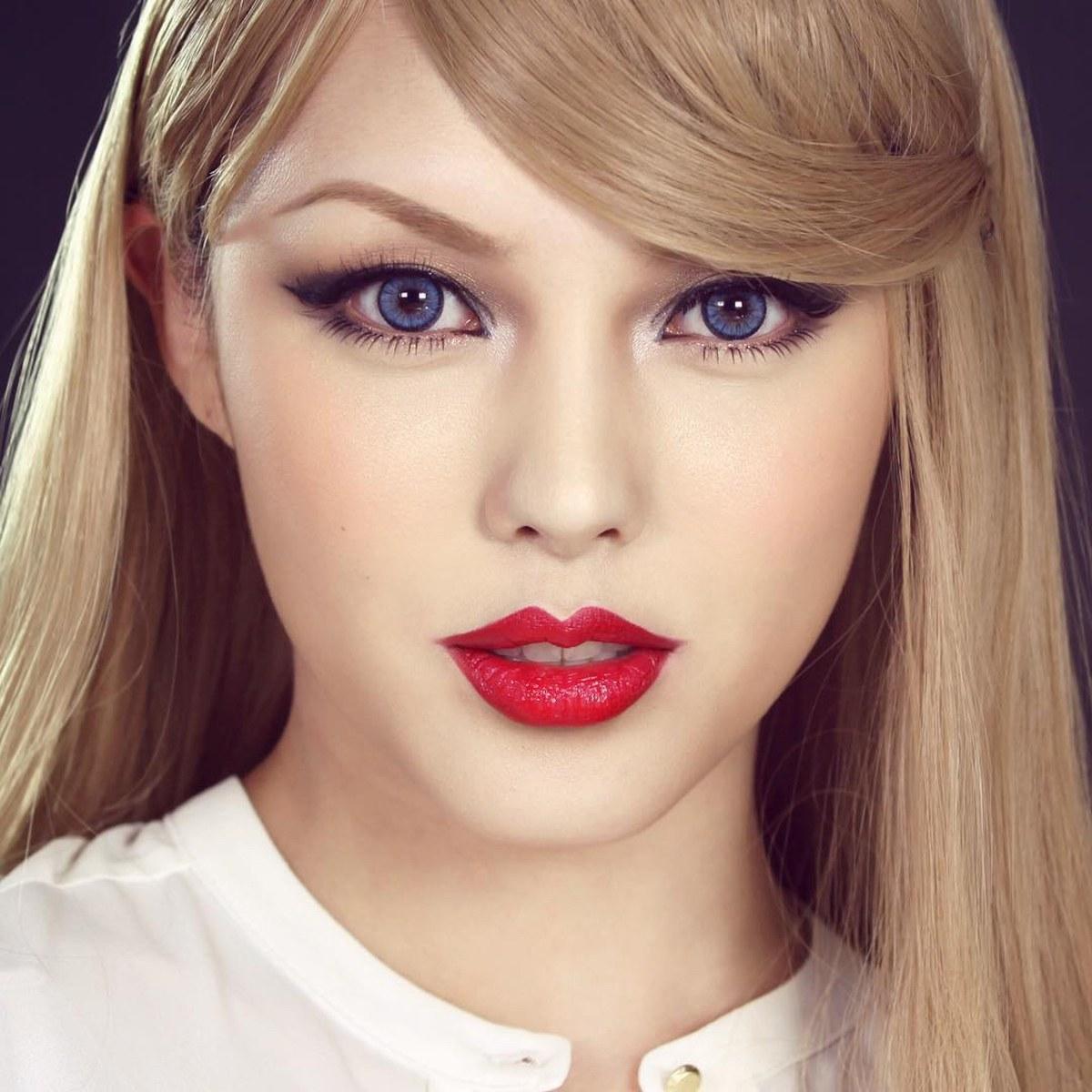 Корейский макияж с красными губами