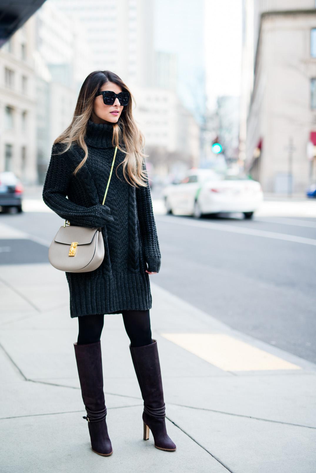 Платье крупной вязки черное