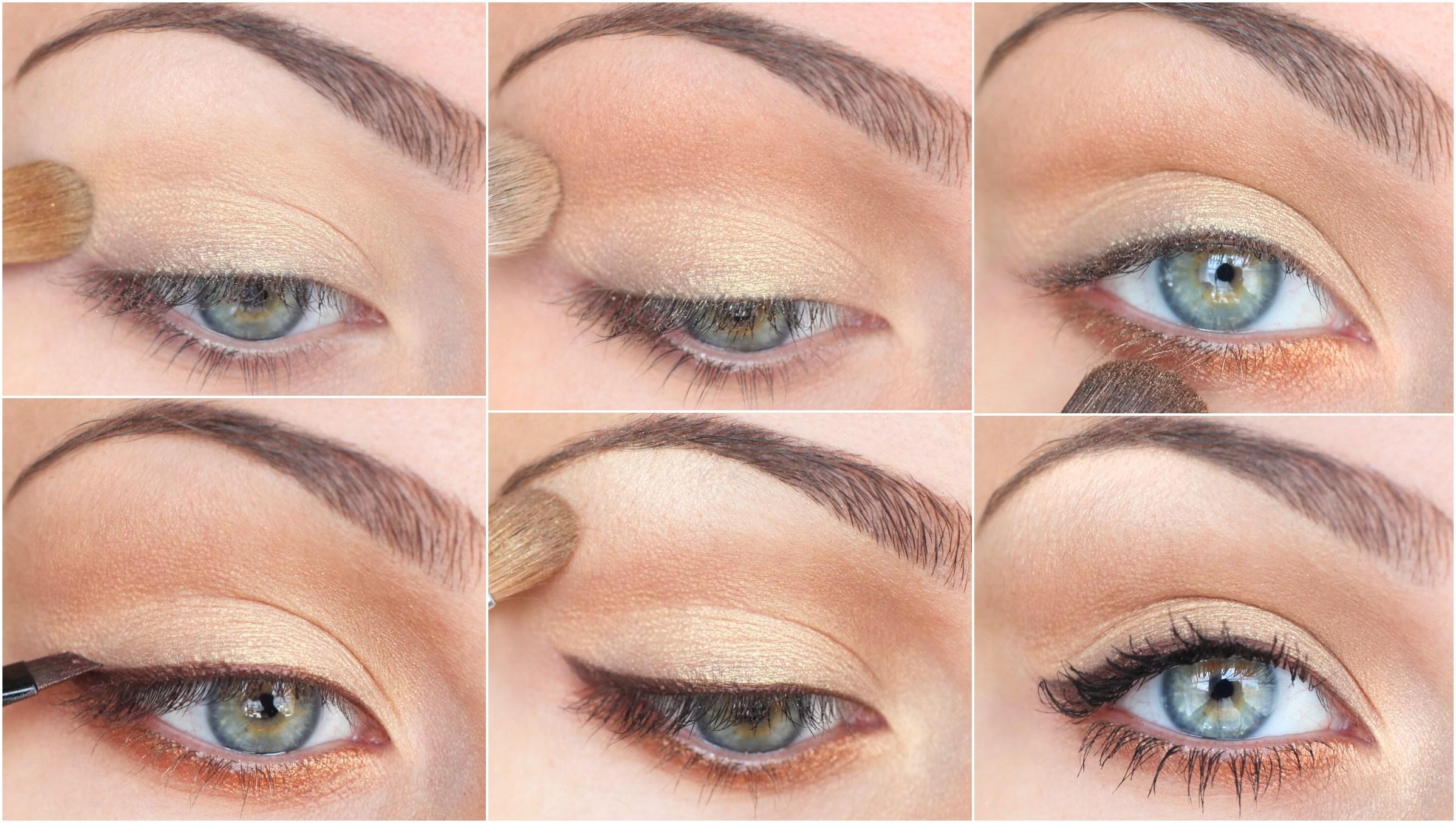 Нюдовый макияж легкий тенями