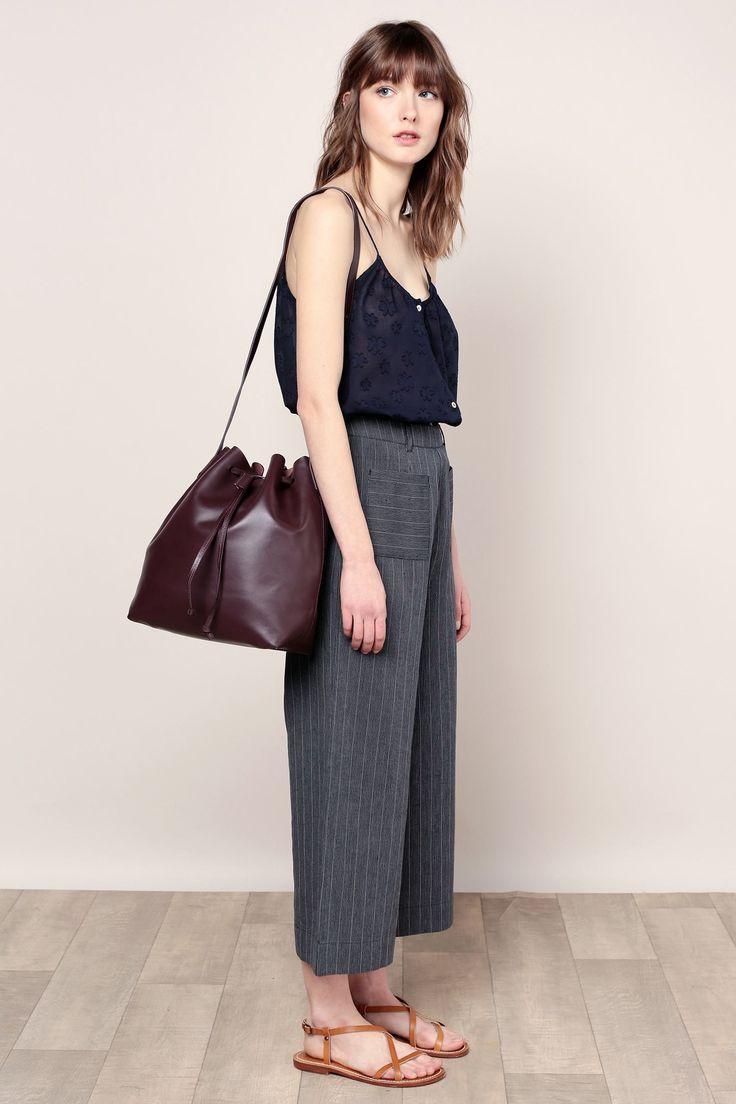 Бордовая сумка мешок