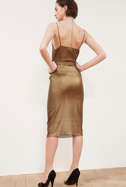 Шелковое платье металлик