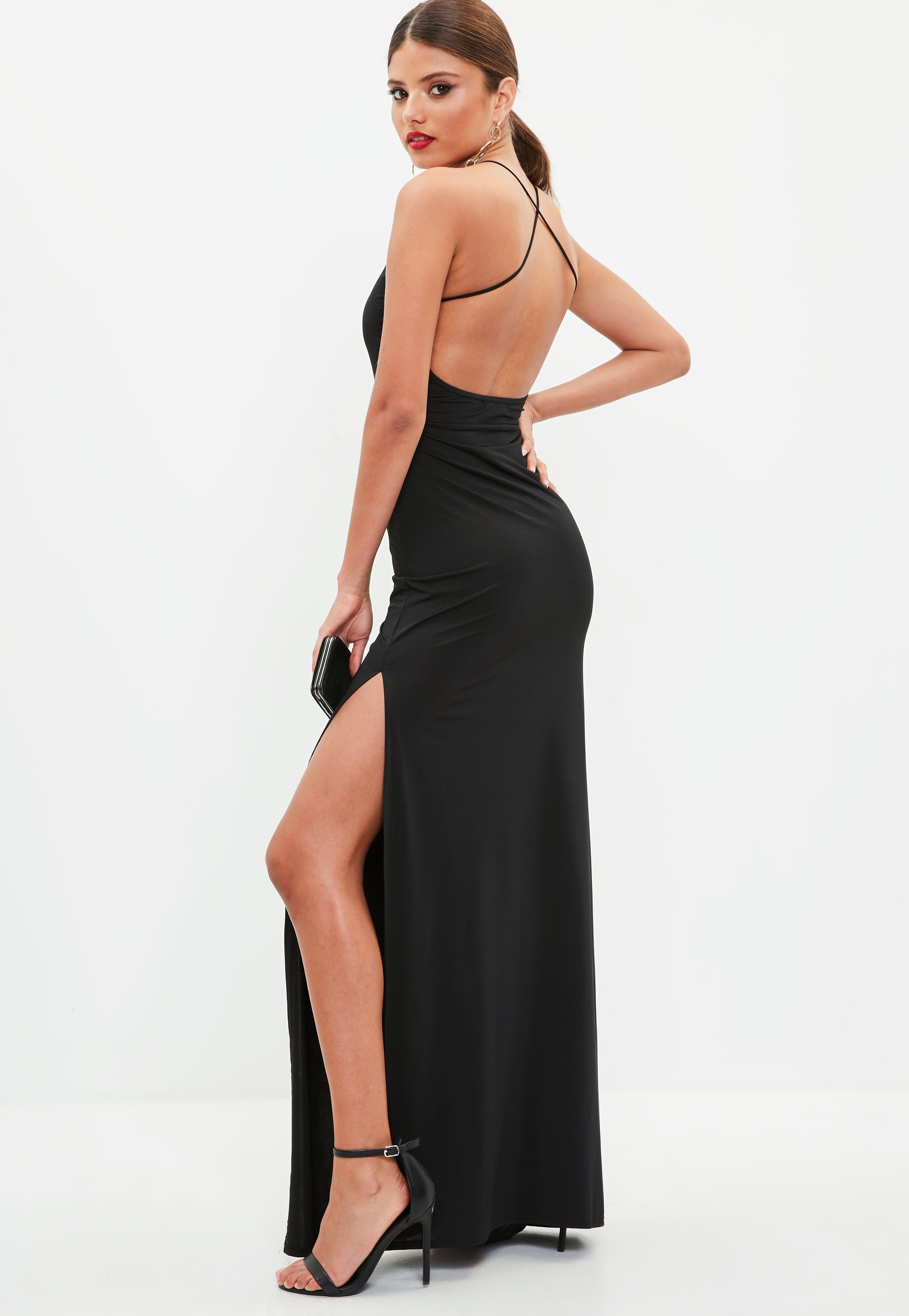 Платье с открытой спиной и разрезом на ноге