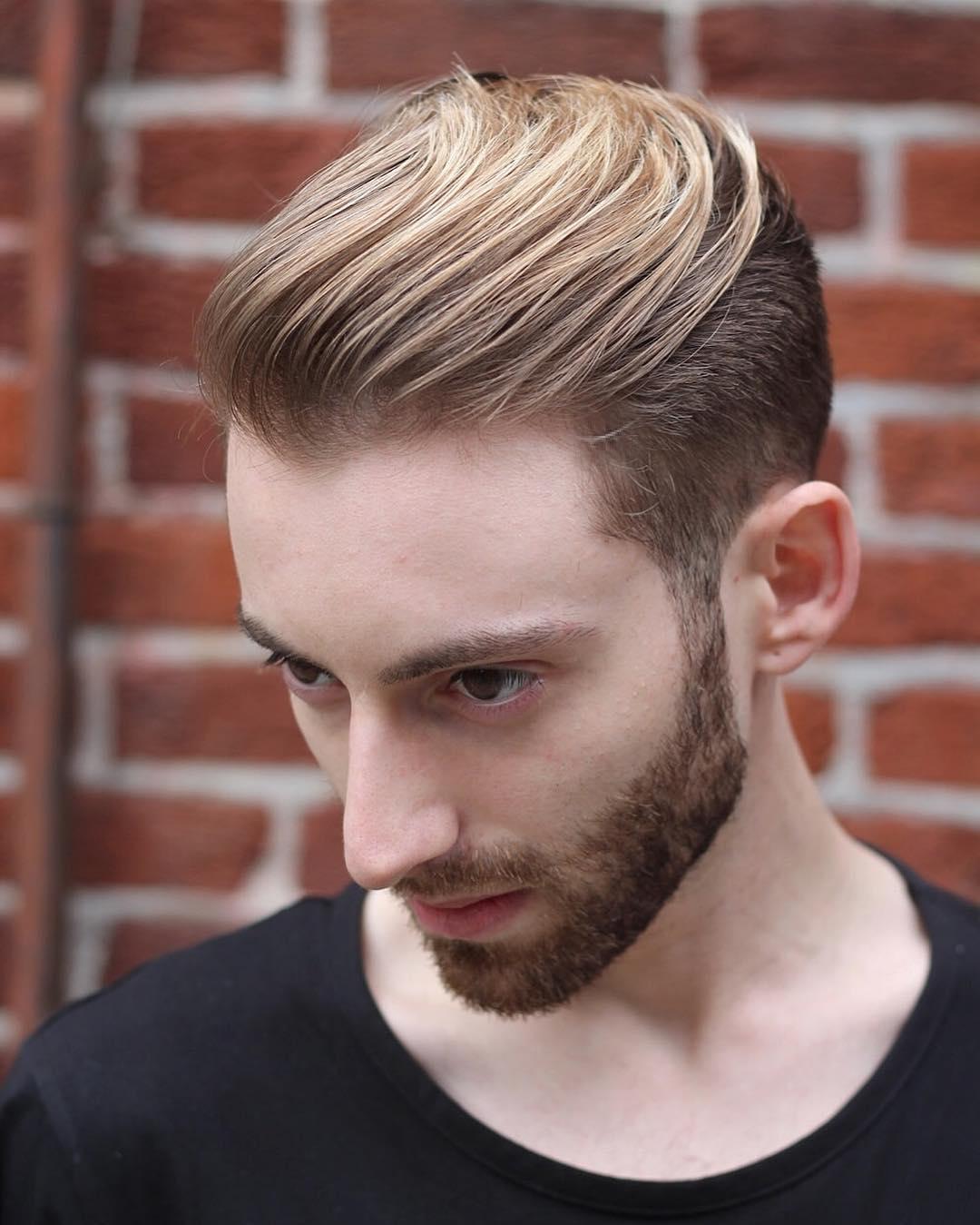Мужская стрижка 2018 с осветленной челкой