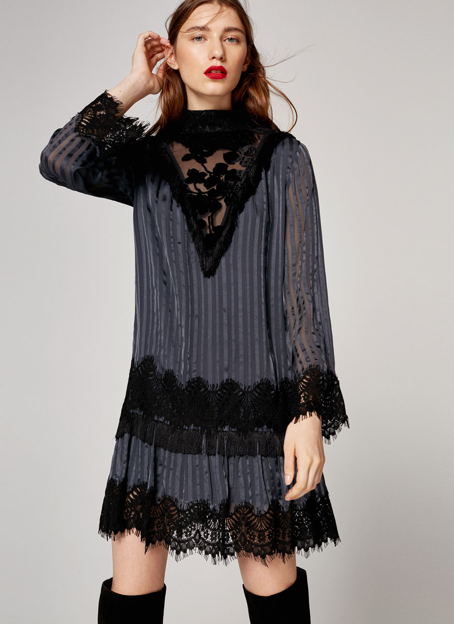 Шелковое платье с кружевной отделкой