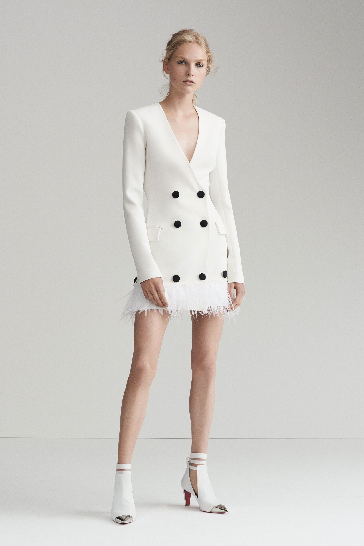Платье пиджак с перьями