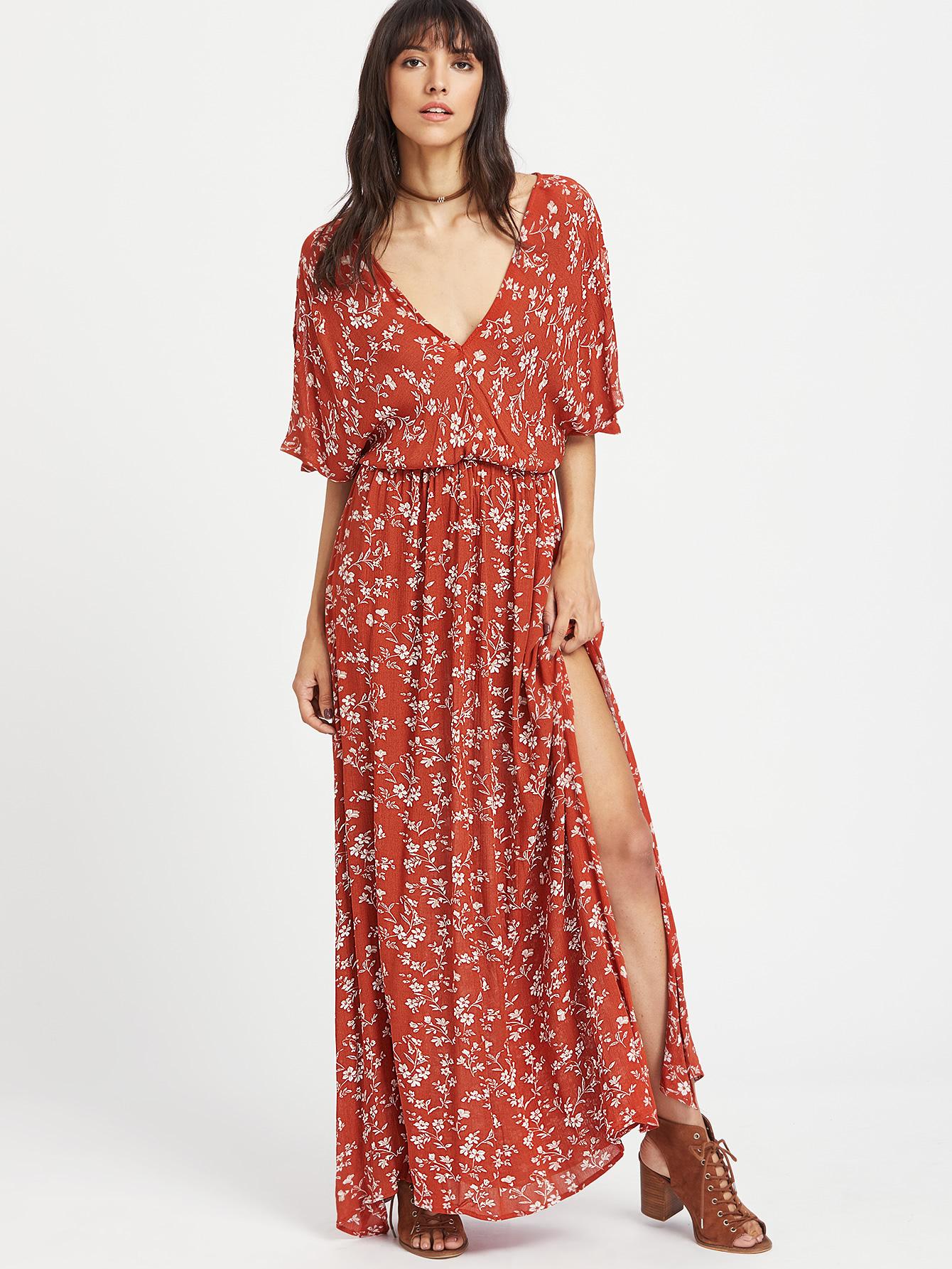 Платье с разрезом повседневное