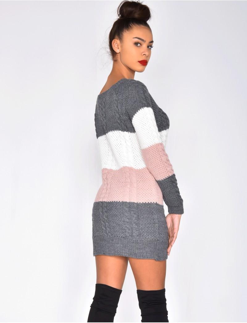 Платье вязаное полосатое