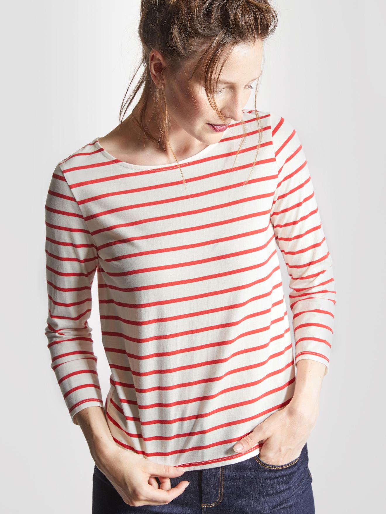 Лонгслив женский в красную полоску