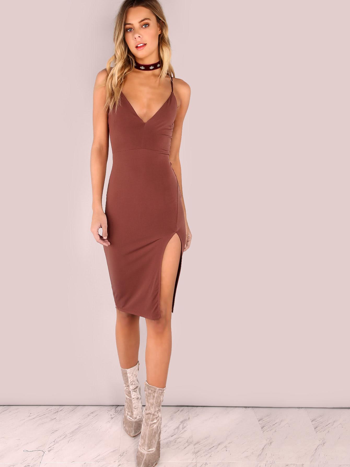 Платье с разрезом повседневное бежевое