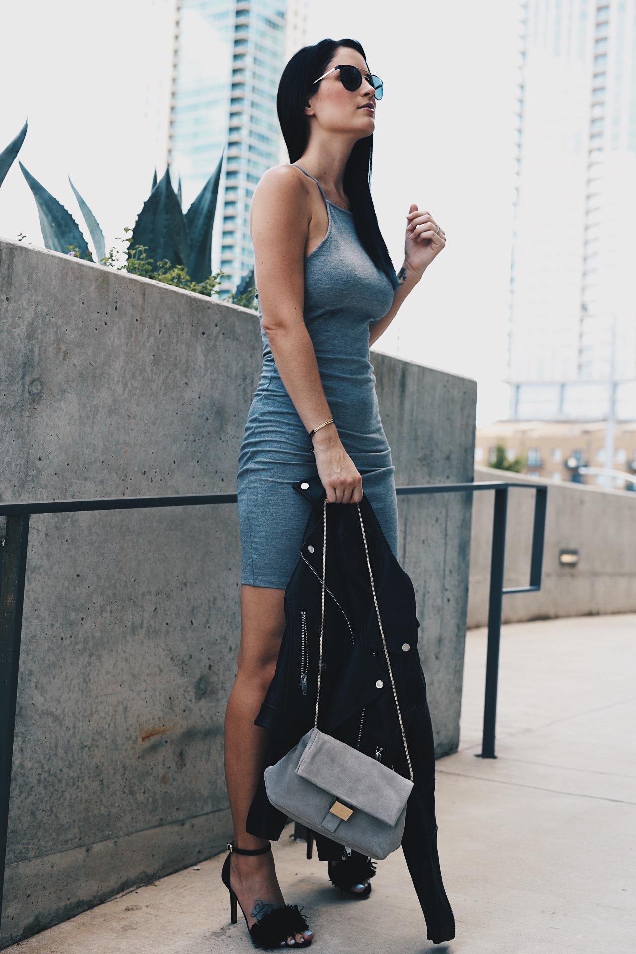 Платье футляр повседневное серое