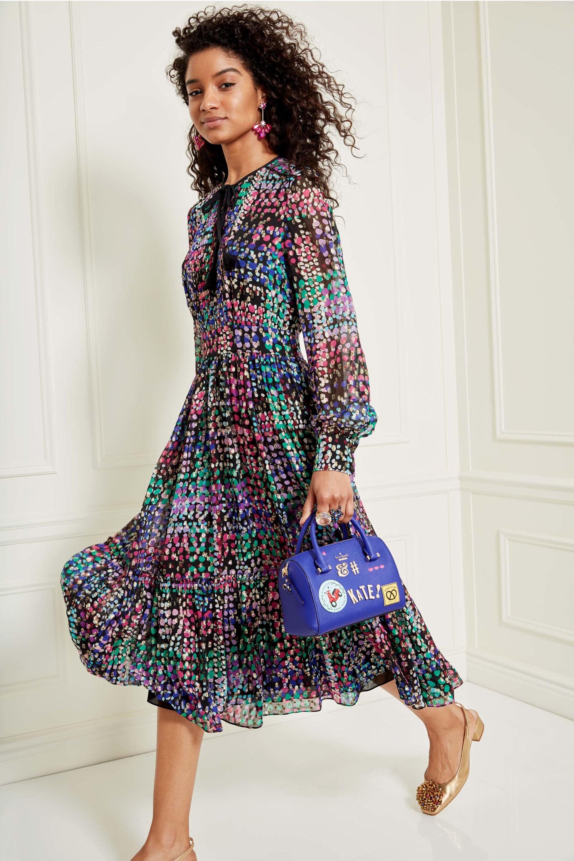 Шелковое платье разноцветное