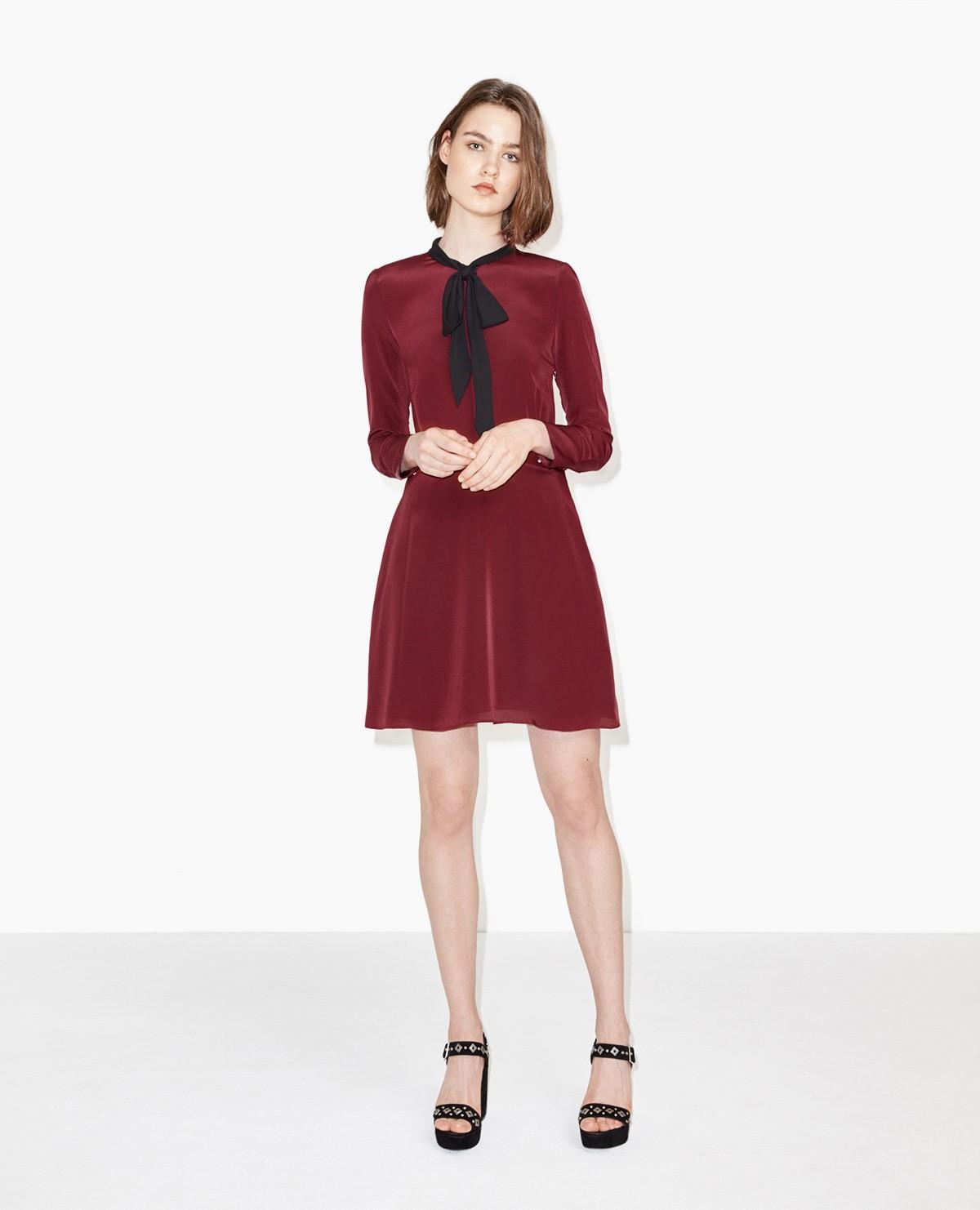 Шелковое платье с рукавами