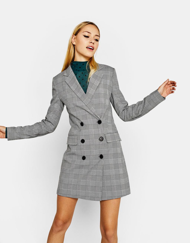 Платье пиджак серое