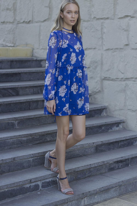 Платье из шифона синее
