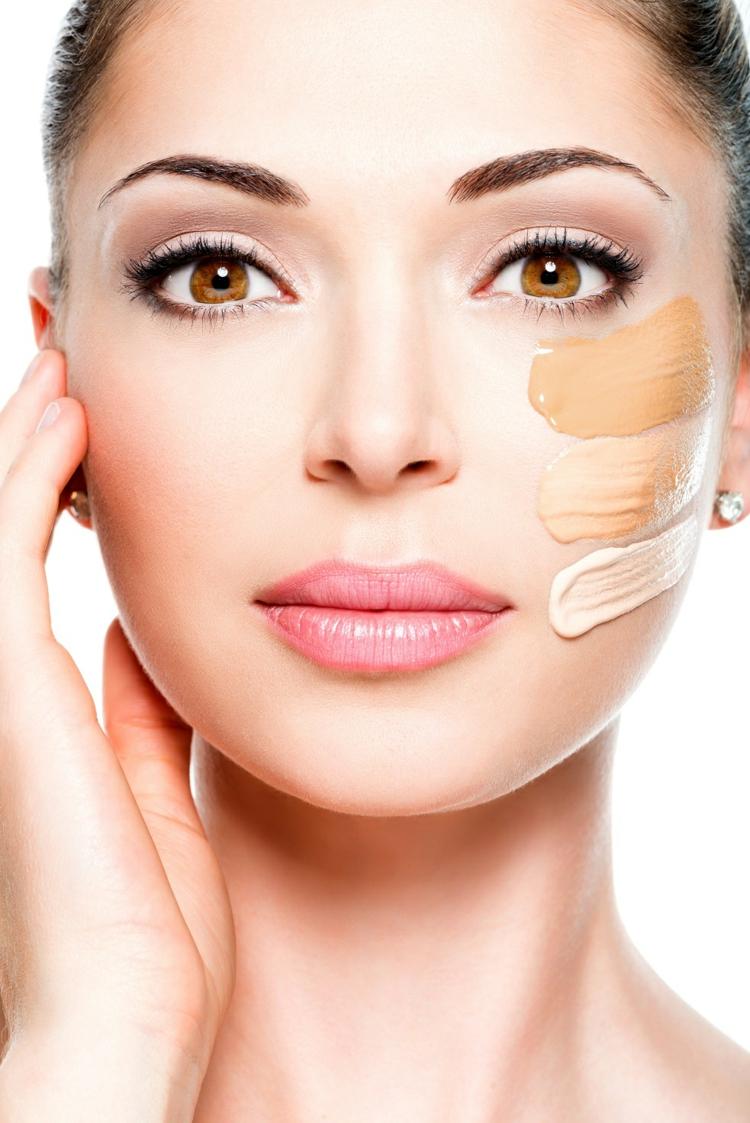 Нюдовый макияж тональной основой