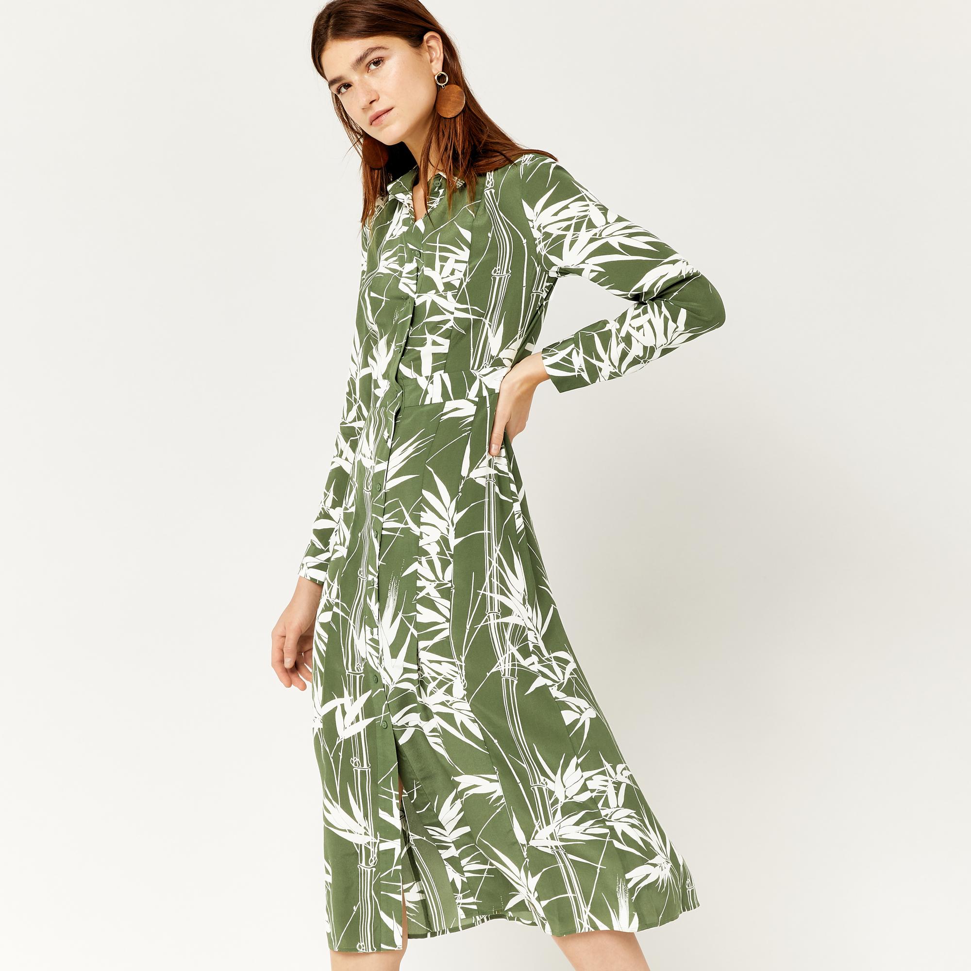 Шелковое платье рубашка зеленое