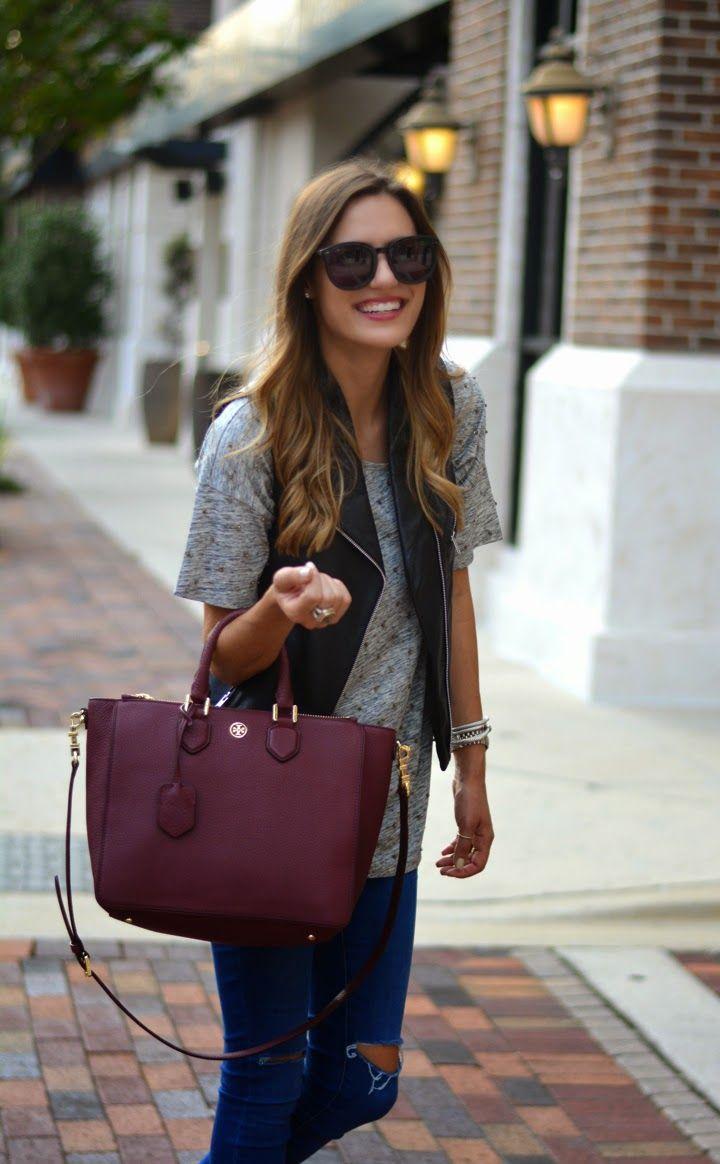 Бордовая сумка с жилетом
