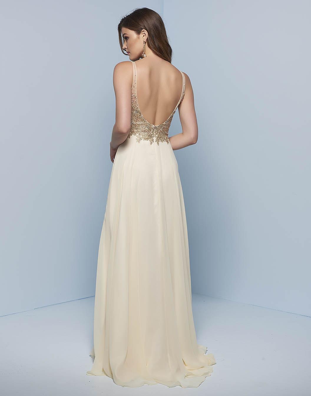 Платье с открытой спиной золотое