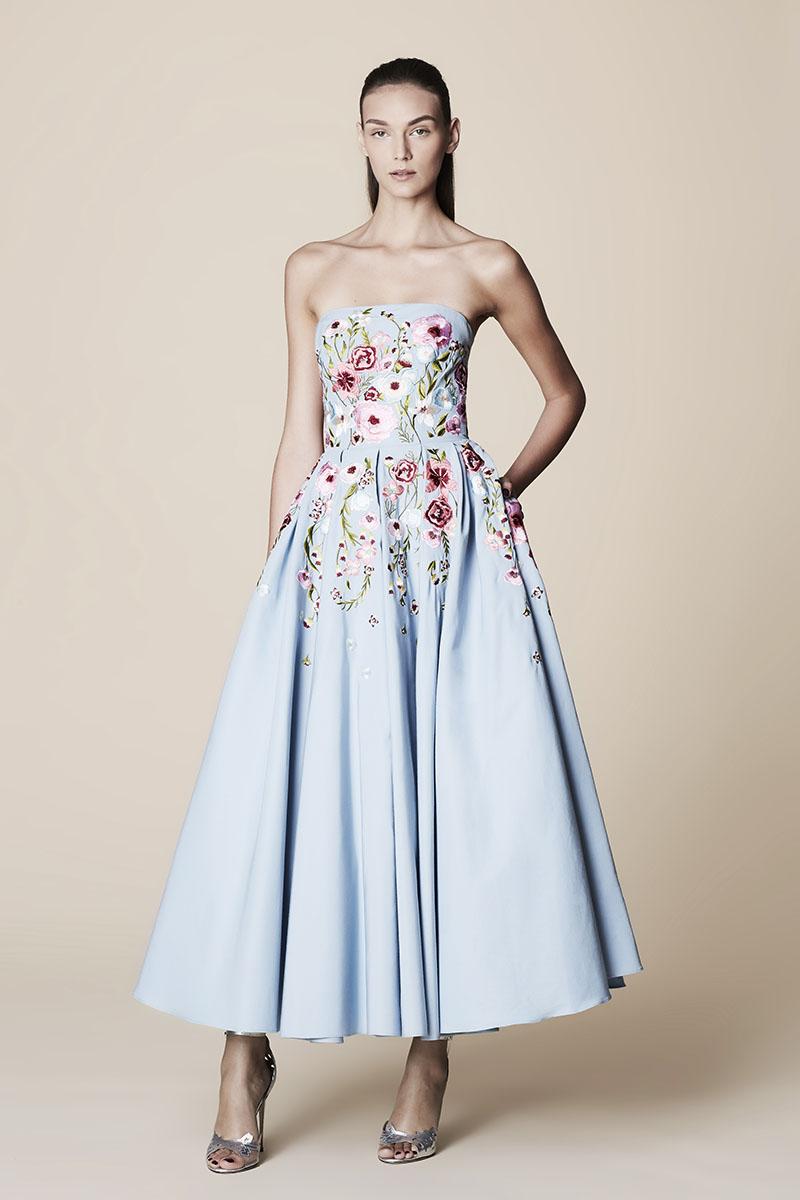 Платье миди Marchesa Notte голубое