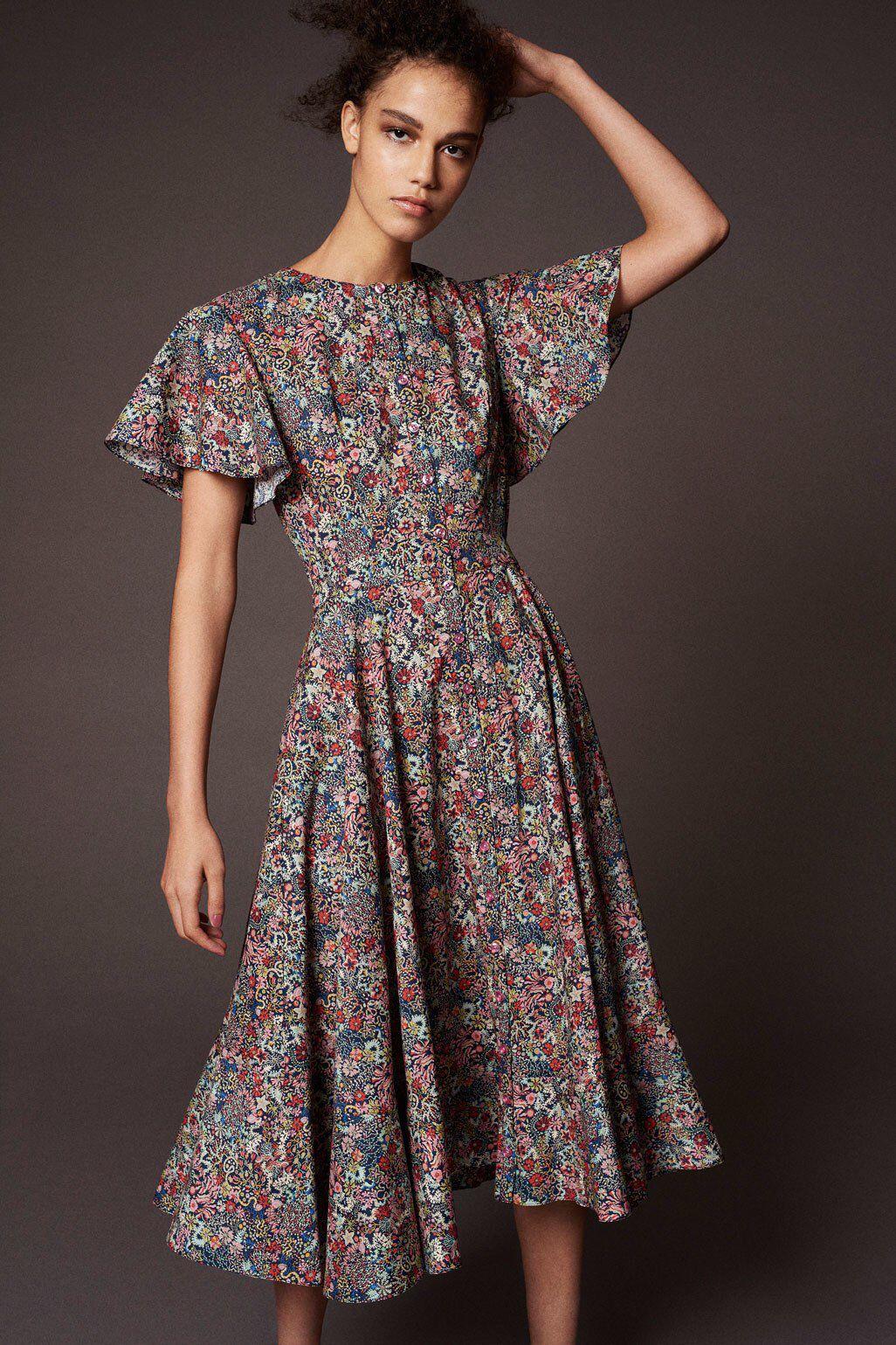 Платье миди Zac Posen с цветами
