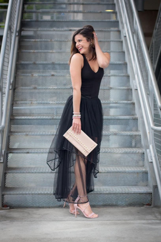 Платье с фатином асимметричное