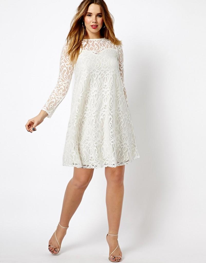 Платье трапеция белое
