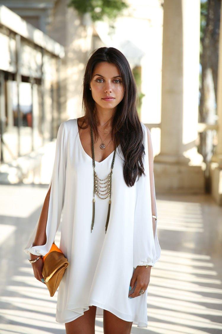 Платье бохо белое