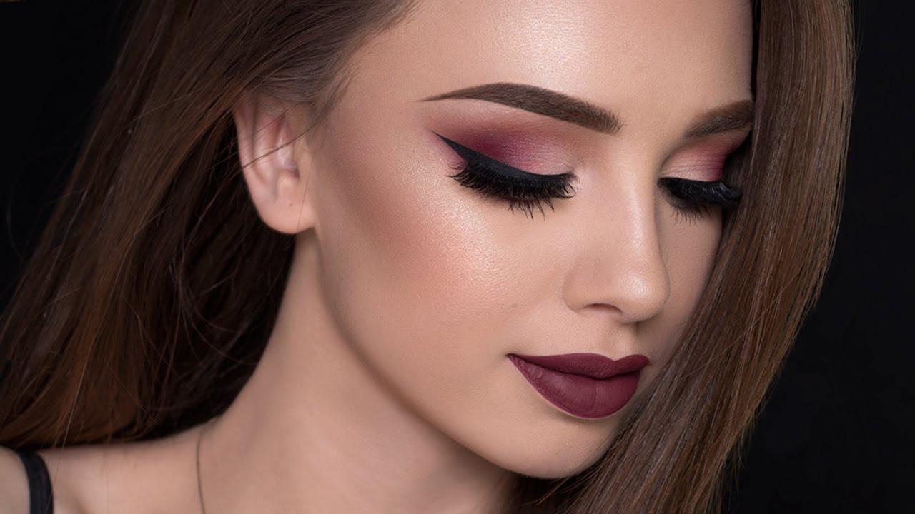 Восточный макияж бордовый
