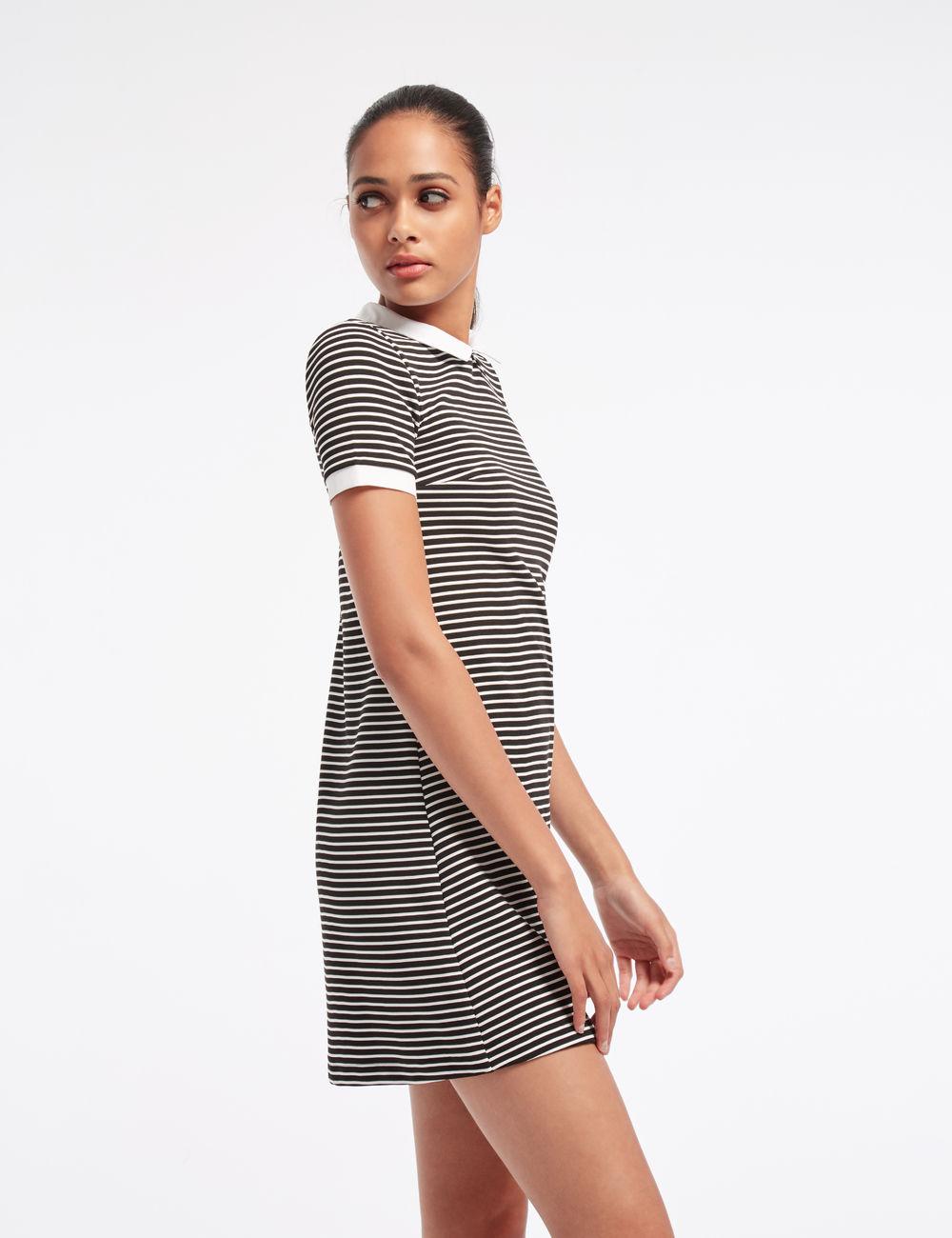 Платье в полоску 2018 черно-белое