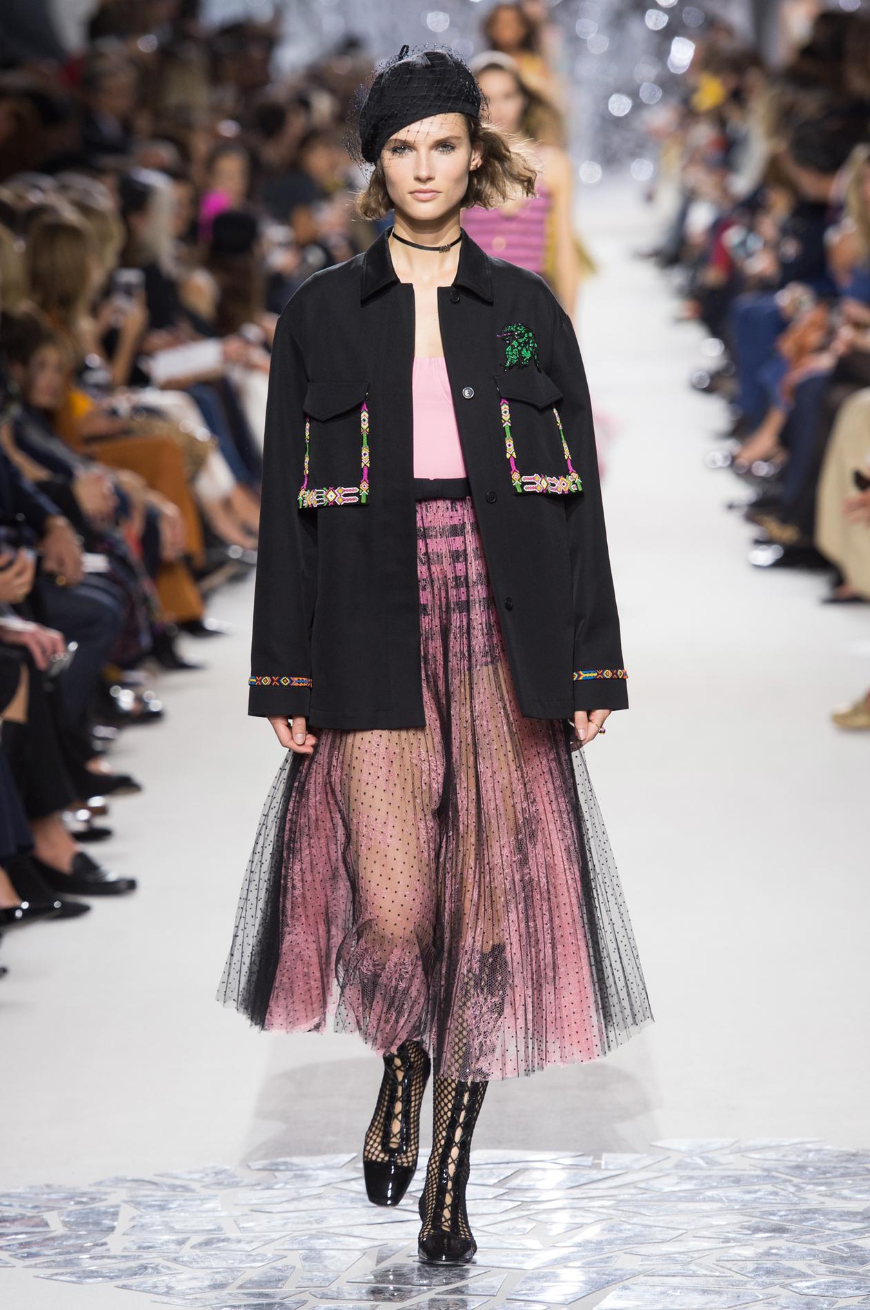 Christian Dior весна лето 2018 черное пальто