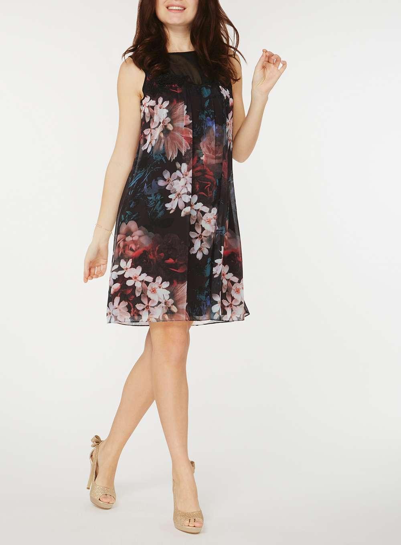 Платье трапеция с цветами