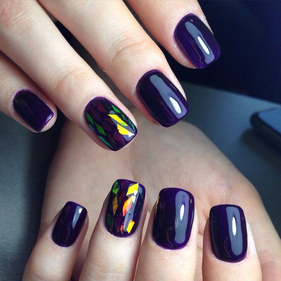 Маникюр битое стекло фиолетовый