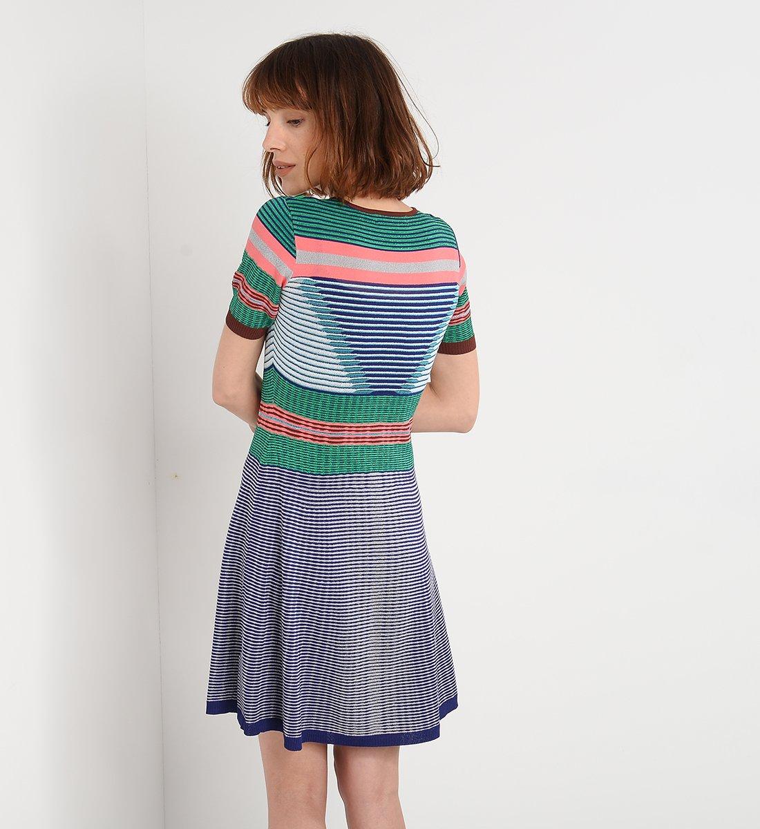 Платье в полоску 2018 геометрическое