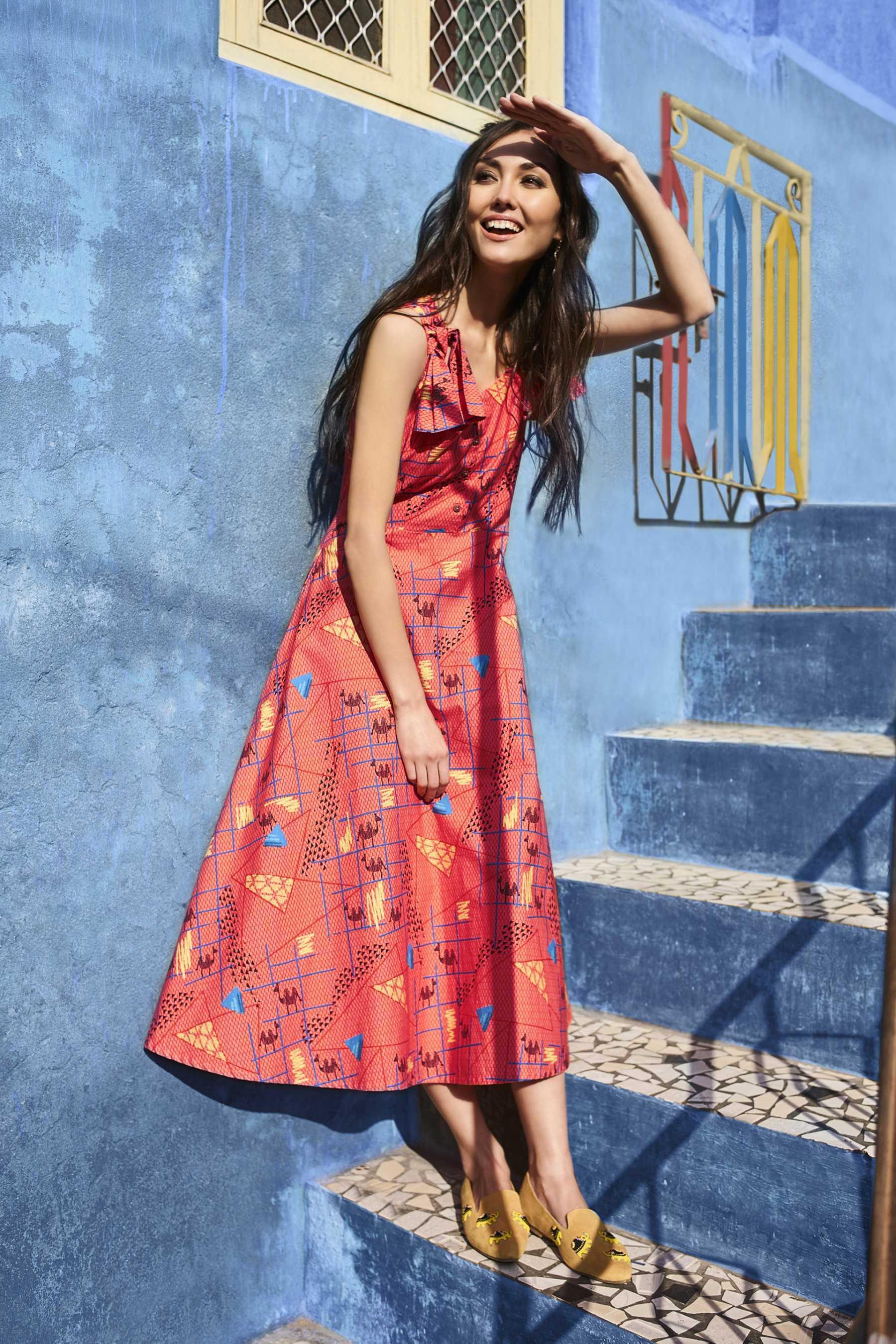 Платье миди с геометрическим рисунком