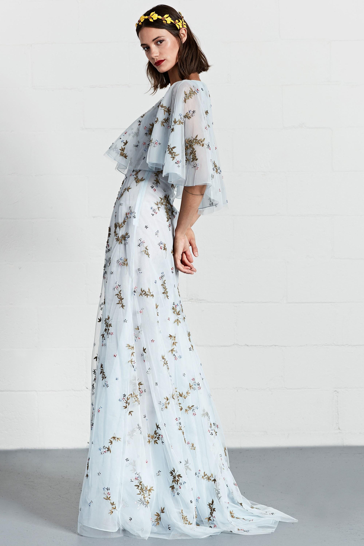 Расклешенное платье голубое длинное