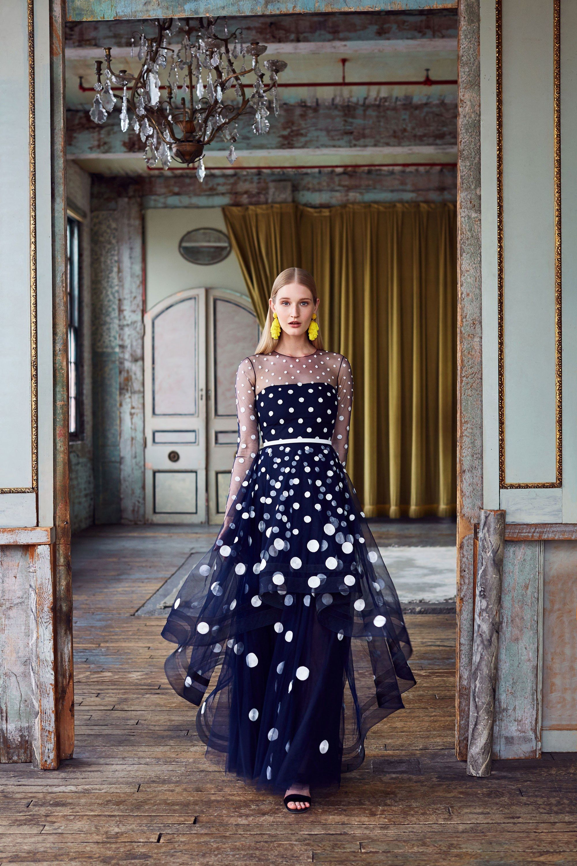 Платье миди в горошек асимметричное