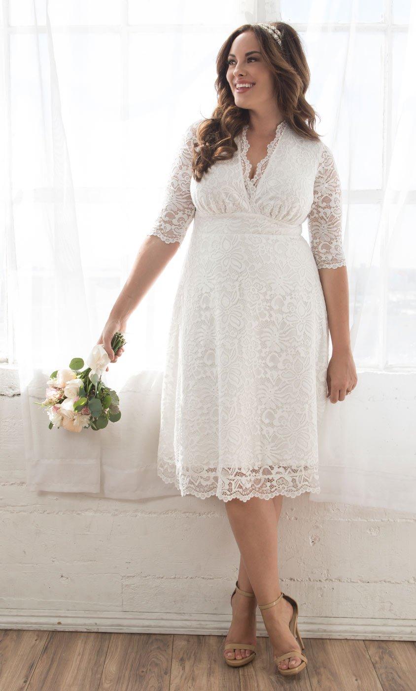 Свадебное платье для полных до колен