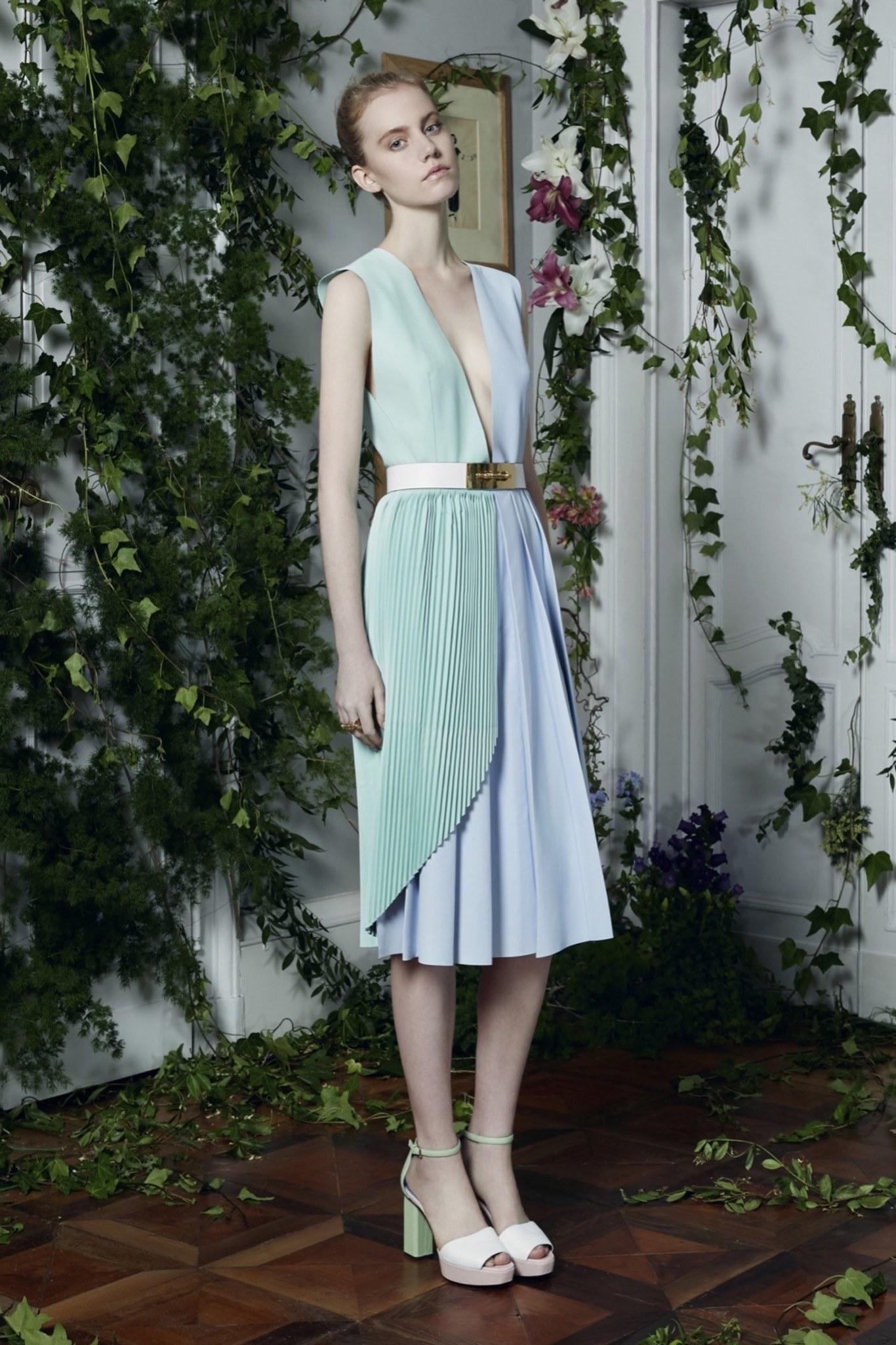 Платье миди комбинированное