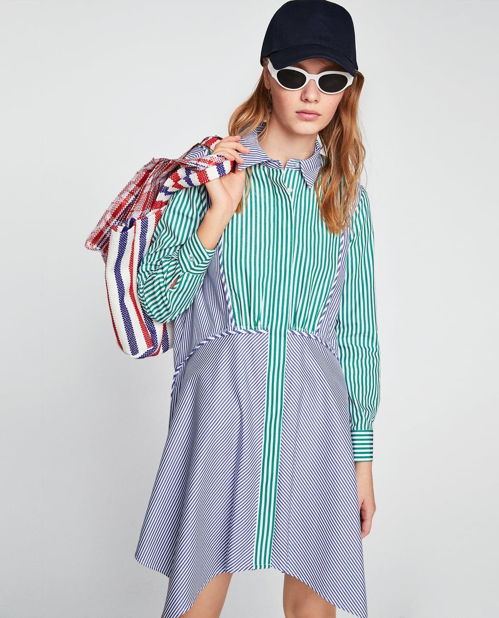 Платье в полоску 2018 контрастное