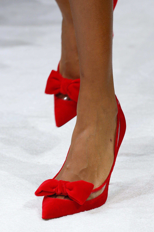 Туфли 2018 красные бархатные