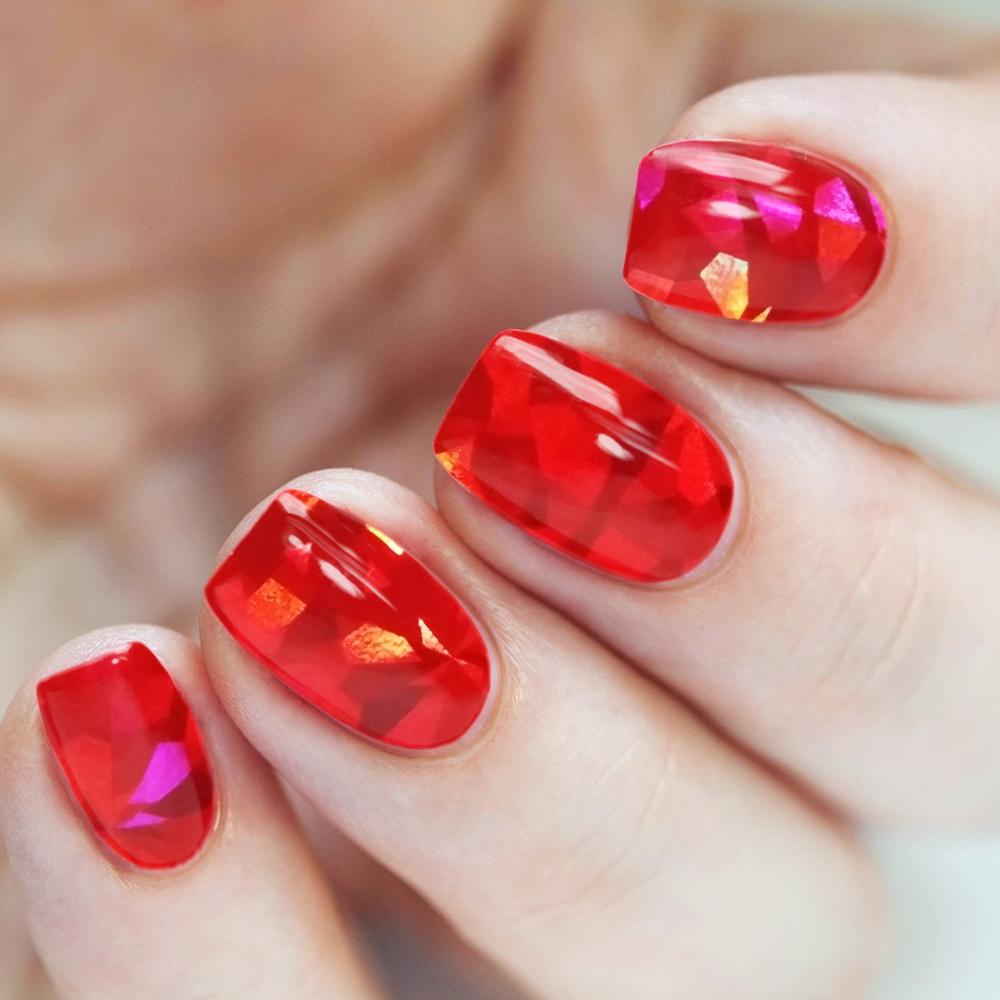 Маникюр битое стекло красного цвета