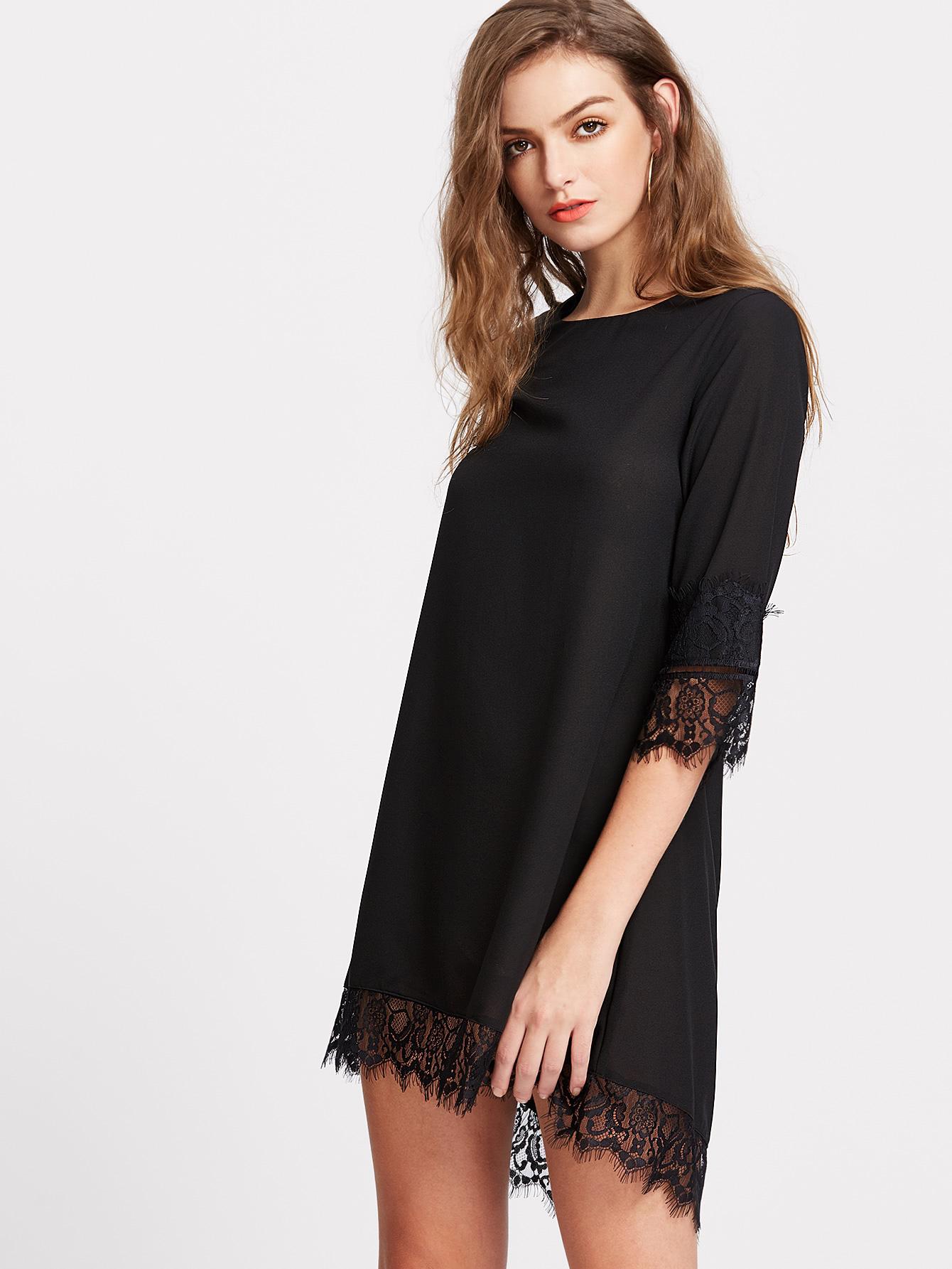 Платье трапеция с кружевом