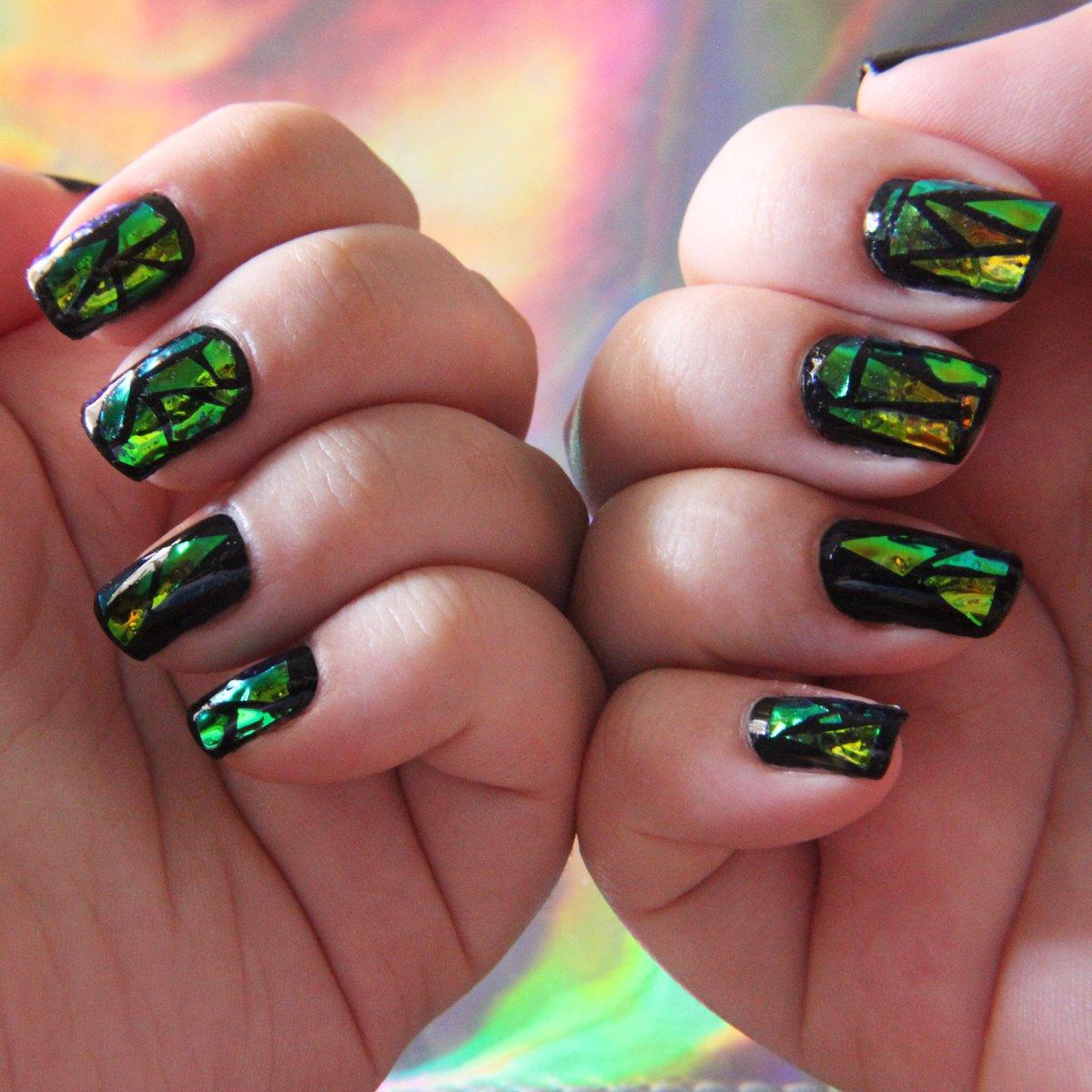 Маникюр битое стекло на квадратные ногти