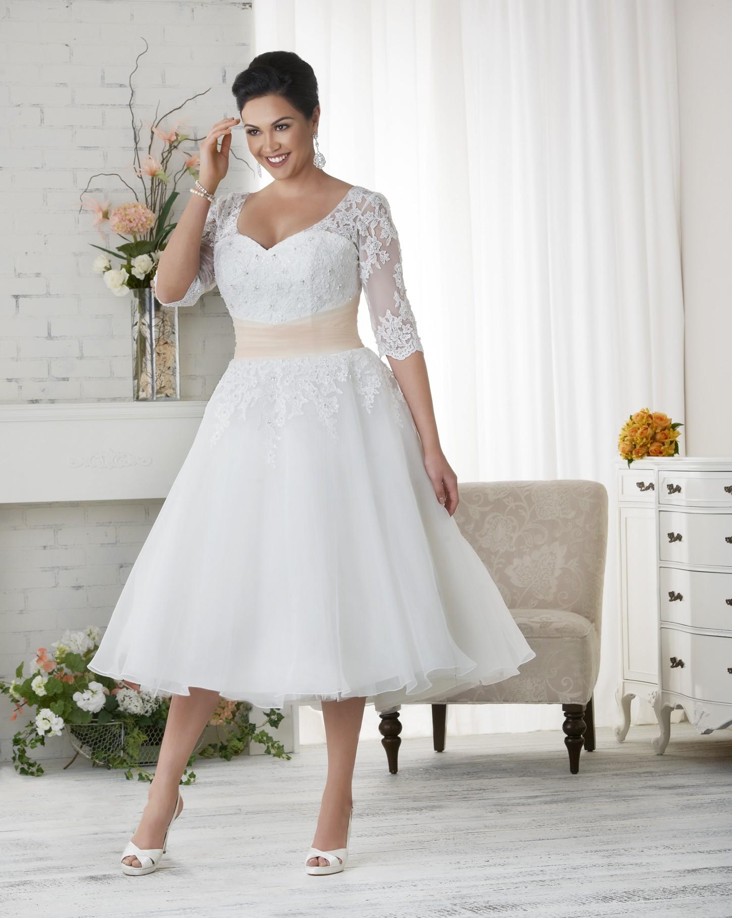 Свадебное платье для полных миди