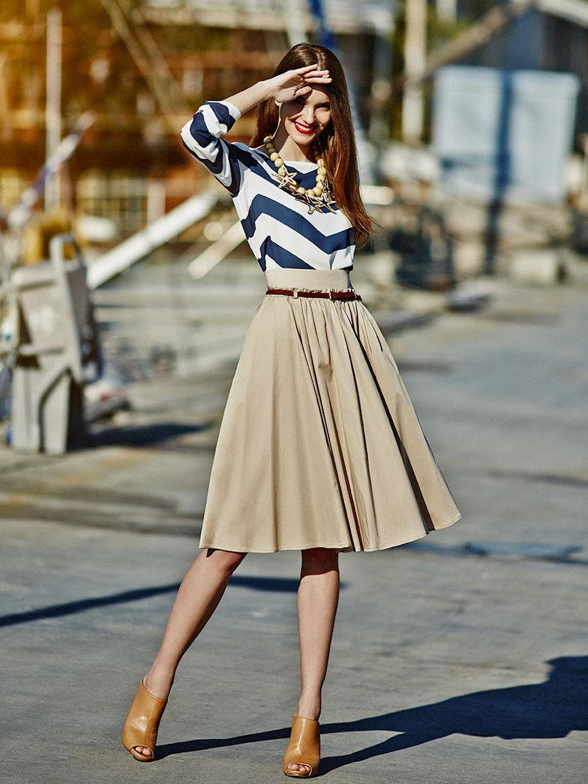 Бежевая юбка миди солнце