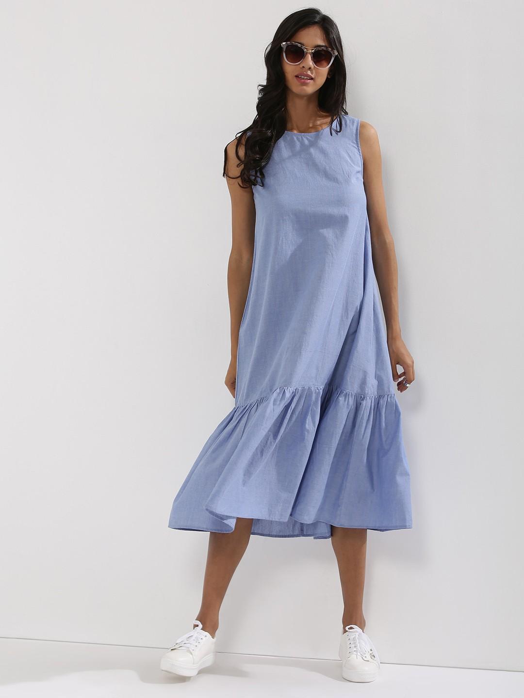 Платье трапеция с оборками