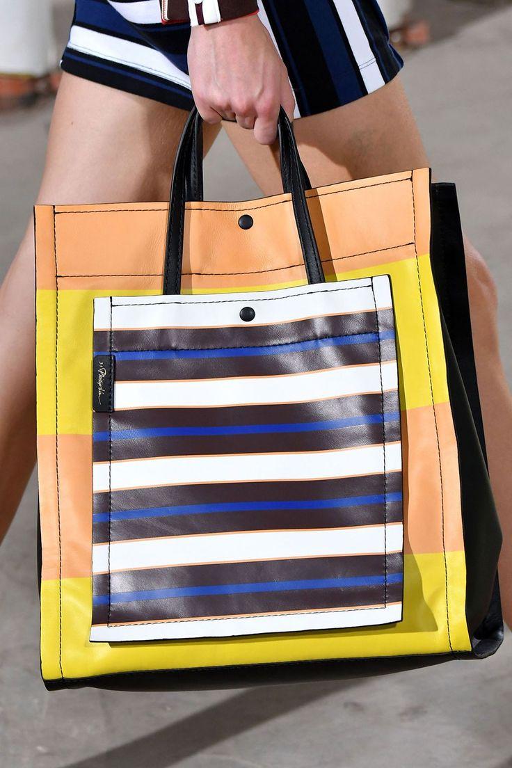 Кожаная сумка женская полосатая