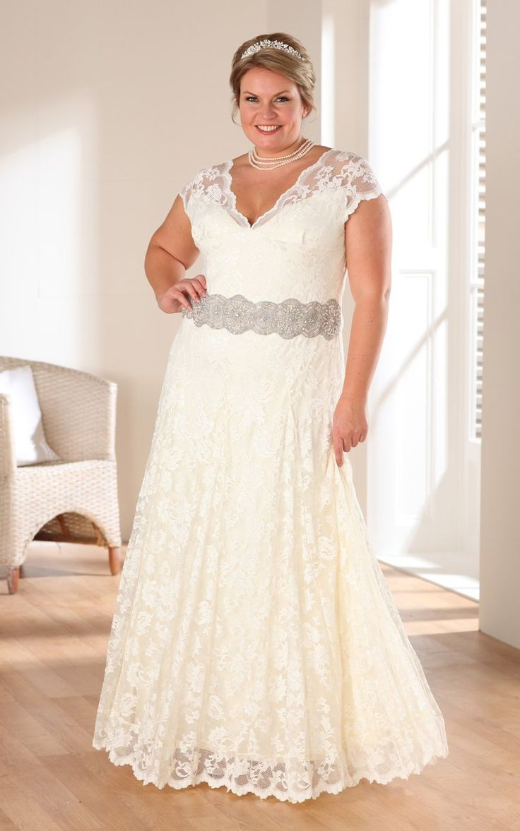 Свадебное платье для полных с поясом