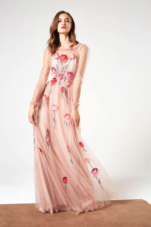 Платье с фатином с принтом