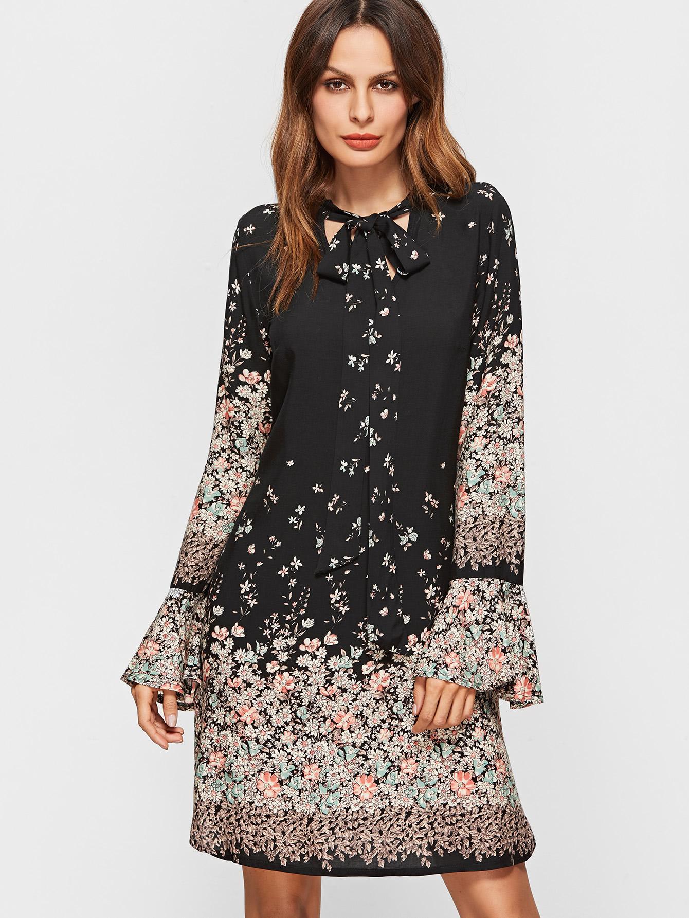 Расклешенное платье с цветочным принтом
